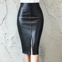 Preto PU Couro Saia Mulheres 2019 New Midi Sexy Cintura Alta Bodycon Split Skirt Escritório Lápis Lápis Comprimento Plus Size