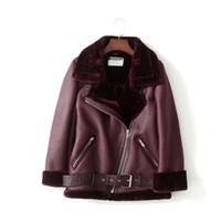 Женская кожа PU куртки конструктора зимы куртка пальто Роскошных женщины Jackt Наклонного Zipper Faxu Fur Coat Liner