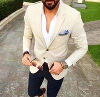 Nach Maß Herren Anzüge Beige Blazer Marine-Blau-Hosen 2 Stück Bräutigam Smoking Slim Fit Männer Hochzeit Tux Abschlussball-Partei-Anzug (Jacket + Pants) GL1507