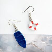 Handgemaakte creatieve marine wind boot reddingsboei anker asymmetrisch bengelen oorbel vrouwelijke mode-sieraden partij geschenken