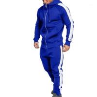 Zipper Anzug Fashion Side gestreifter Kapuze Hoodies-Jacken-Hosen-Trainingsanzüge Men Casual Sweatsuit Top Quality1