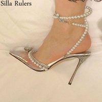 Новая весна ПВХ жемчуг острым носом насосы женщины взлетно посадочной полосы роскошный Кристалл лук высокие каблуки обувь для вечеринок свадебные туфли mujer