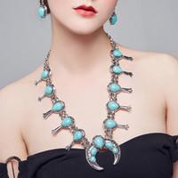 BOHO Faux Stone Squash Blossom Collar Set Vintage Bohemian Turquesa Collar de la Declaración Traje Arrastra Queen Joyería para Mujeres