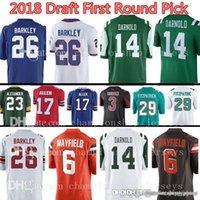 New Arrival. 2018 New New York 26 Saquon Barkley 6 Baker Mayfield 14 Sam  Darnold Jersey ... 81625a89f