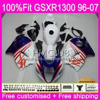 Injecção Para SUZUKI Hayabusa GSXR1300 GSXR 1300 96 97 98 99 00 01 07 22HM.24 GSX R1300 1996 1997 1998 1999 2000 2001 Topo Branco Azul Carenagem