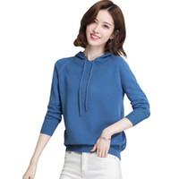 2019 가을 새로운 캐시미어 스웨터 여성 후드 풀오버 솔리드 컬러 니트 스웨터 겉옷 숙녀 후드 워지 펨 메이트