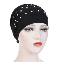 Muslim Women Bead Ruffle Turban Hat HeadWrap Cap Chemo Hat Cancer Beanie Scarf for Cancer Patients Hair Loss Cover