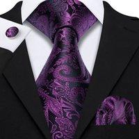 Hızlı Kargo Kravat Set Mor Siyah Paisley erkek İpek Toptan Jacquard Dokuma Kravat Cep Kare Kol Düğmeleri Düğün Business N-5134