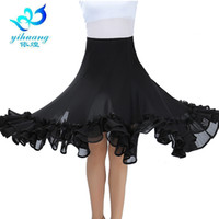 Sahne Giyim Balo Salonu Dans Kostüm Etek Tango Modern Standart Performans Waltz Salsa Rumba Eğitim Yarım Elbise Elastik Kemer # 2537-1