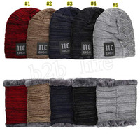 야외 남성 겨울 뜨개질 모자 스카프 세트 모자 스카프 겨울 액세서리 모자 스카프 2 조각 LJJM2372을 따뜻하게