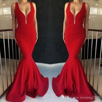 Splendida Red Mermaid abiti da sera 2019 Prom abiti lunghi in vendita Glamorous False Prospettiva Deep V Sweep maniche treno Exposed disossamento