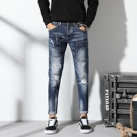 New Torn ripped jeans for men zip skinny jeans men elastic s...