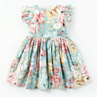 New Summer Baby Girl Dresses Bambini Flying Sleeve Cotton Dress Bambini Holiday Beach Princess Girls Abbigliamento