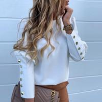 Delle donne nuovo elegante Puff spalla camicetta camice delle signore di autunno della molla di metallo bottoni di dettaglio supera le camicette Femminile Ananas stampato a manica lunga