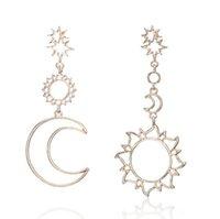 Boemia Brincos de Geometria De Ouro Rosa Para As Mulheres Oco Estrela Lua Gota Brinco Bijoux Femme Presente Declaração de Jóias Novo