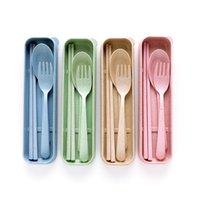 Portátil de paja de trigo Vajilla Cuchara Tenedor Palillos Conjunto Alimentación 4 colores reutilizable viajes de camping Set de cubiertos