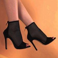2020 Ladies Sandals Fish Mouth Mesh Stiletto High Heel Summer Fashion Boots Plus Size Sandalias Casual Pumps Banquet Shoes Woman