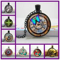 Verdve Glass Photo Cabochon Naszyjnik Steampunk Zegar Naszyjnik Szklany Domek Wisiorek Handcrafted Biżuteria Motyl Wzór