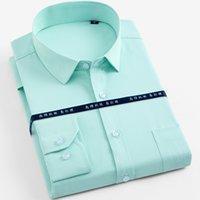 Erkek Uzun Kollu Katı Temel Gömlekler Yama Göğüs Cep Düzenli Fit Yuvarlak Hem Örgün kabartılmış Çalışma Ofisi Sosyal Shirt