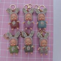 Schlafen Baby-Puppe Keychain Strass Schlüsselanhänger Auto Schlüsselanhänger Frauen-Schlüssel-Halter-Beutel-Anhänger-Charme-Zubehör