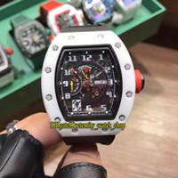 23 Stil R Yüksek sürümü RM 030 Seramik Beyaz Kılıf İskelet tarihi Dial Japonya Miyota Otomatik RM030 Erkek İzle Kauçuk Spor Tasarımcı Saatler