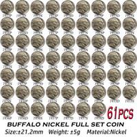 61 pcs EUA Buffalo Níquel moedas 1913-1938 cópia níquel conjunto de arte completa colecionáveis
