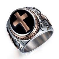 Дорогие христианские ювелирные изделия Кольца Иисус Распятие Высокое качество титана стали Vintga рука Бога кольцо партии подарки для мужчин