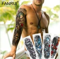 남자에 대 한 새로운 블랙 임시 문신 스티커 전체 바디 아트 암 슬리브 문신 48 * 17 CM 큰 방수 문신 소녀