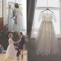 Короткие кружева свадебные платья Jewel Половина рукава чай длина сад страна пляж свадебные платья халаты de mariée vestidos de novia плюс размер дешевые
