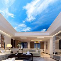 Papeles techo de la pared 3D de encargo mural del papel pintado de habitaciones paisaje cielo azul y nubes blancas del hotel Restaurante Sentado habitación de techo