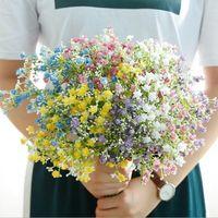 babysbreath Artificial Flower Bouquet decoração Home respiração flor de seda colorido Gypsophila haste longa Falso Flowers Wedding Decor LXL294-A