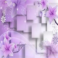 صور تخصيص حجم 3D الأرجواني خلفيات الزهور زنبق جداريات مجسمة 3D ورق الجدران ورق الجدران 3D للتلفزيون خلفية
