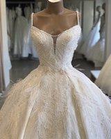 Урожай Sexy Кристалл бисера бальное платье Wedidng платья Luxury Спагетти Плюс Размер Саудовская Аравия Дубай Дубай свадебное платье на заказ