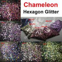 5colors Chameleon Glitter Mixed Metallic Luster Hexagon Art Forma prego por Artesanato Detalhes no Maquiagem Facepainting DIY Acessórios