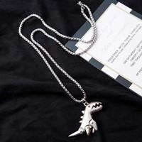 Moda hiphop dinozor kolye kolye erkekler kadınlar için yaratıcı silve siyah paslanmaz çelik zincir kolye takı hediye