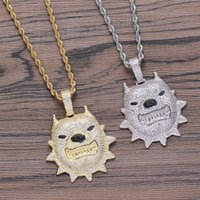 GUCY New Dog Pendant Necklace With Tennis Chain Gold Silver ...