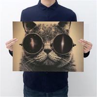 쿨 잘 생긴 고양이 선글라스 록 동물 크래프트 종이 바 포스터 레트로 포스터 장식 페인팅 벽 스티커