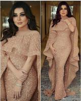 Robes de soirée sirène paillettes or arabe avec Wrap Vintage Elegant Longueur de plancher sol formel robes de bal de finissant BC0199