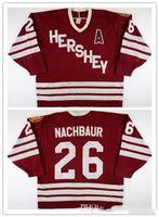 Jersey de encargo 5XL 6XL de la vendimia 1987-1988 don nachbaur Hershey Bears Juego hockey jersey bordado cosido Personalizar cualquier número y el nombre de New