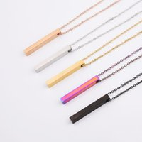 5 colori lucidi bar collane vuote in acciaio inox geometrici quadrati lungo bancone collana pendente verticali di gioielli fai da te per il cliente