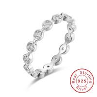solido anello in argento sterling 925 Alluring Brilliant Marquise Anelli per dita impilabili con Clear CZ Original Fine Jewelry