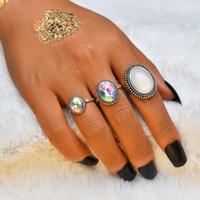 여성 여성 빈티지 오팔 수지 웨딩 너클 RingSet 패션 쥬얼리 액세서리 R606에 대한 3PCS / 설정 펑크 손가락 반지
