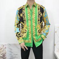 Yeni Moda Tasarımcılar Iş Rahat Gömlek erkek Elbise Gömlek Uzun Kollu Medusa Retro Lüks Siyah Altın Baskı 3D Gömlek
