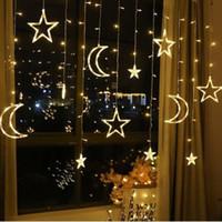 Moon Star Lamp LED Lamp Cordas Ins Luzes de Natal Decoração Holiday Lights Cortina Lâmpada Wedding Neon lanterna luz 220v fadas