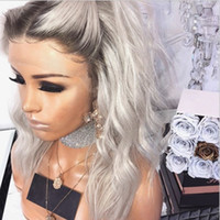 Middle part platinum blonde Body wave wig High temperature p...