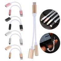 2 in 1 유형 C 헤드폰 잭 커넥터 케이블 3.5mm Aux 오디오 어댑터 삼성 안드로이드 폰용