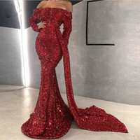 2020 Sparkle Burgundy Sequined Mermaid Reflective Prom Dress...
