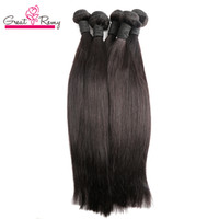 GreatRemy Indian Brasilianas Sin procesar Virgin Human Hair Extensions Sedky Straight Tyable Hairbundles 4pcs / lot Double troh Extension