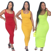 Sexy Womens Casual Robes De Mode Sans Manches Bodycon Slip Womens Robes De Couleur Unie Pullover Robes Femmes Vêtements
