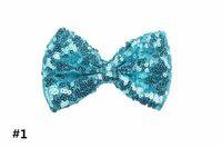 11cm Stirnbänder Zubehör Sequin Bogen DIY Baby Boutique-Haar-Bögen ohne Krokodilklemme für Mädchen